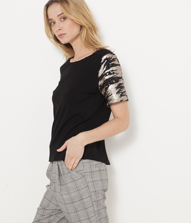 T-shirt cropped manches fantaisie femme