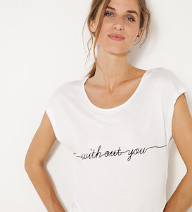 T-shirt message « without you » femme