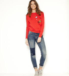 Pull femme patchs