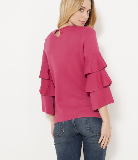 Pull manches volants femme