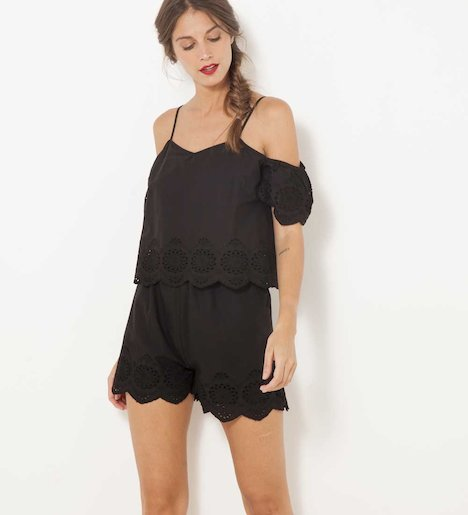 Combi-short femme broderie anglaise