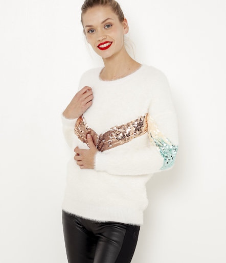 Pull shaggy sequins femme