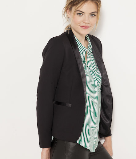 Veste smoking encolure satin femme