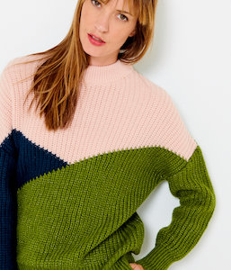 Pull grosses mailles color-block femme