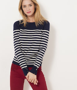 Pull boutons épaules femme