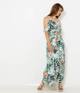 Robe longue tropicale à volants