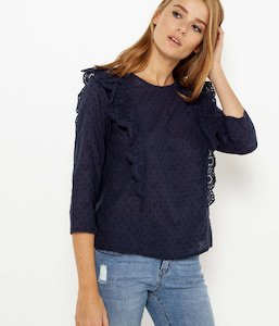 Blouse broderie anglaise et volants femme