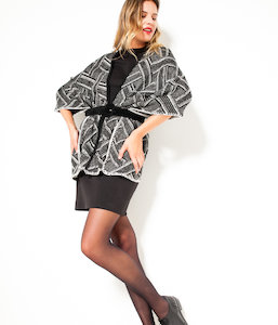 Pull poncho femme bicolore