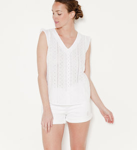 Top femme broderie anglaise