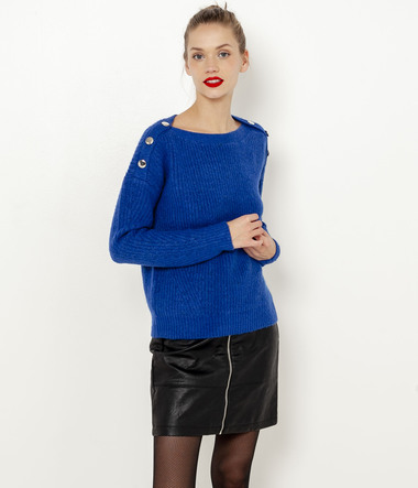 Pull maille boutons femme